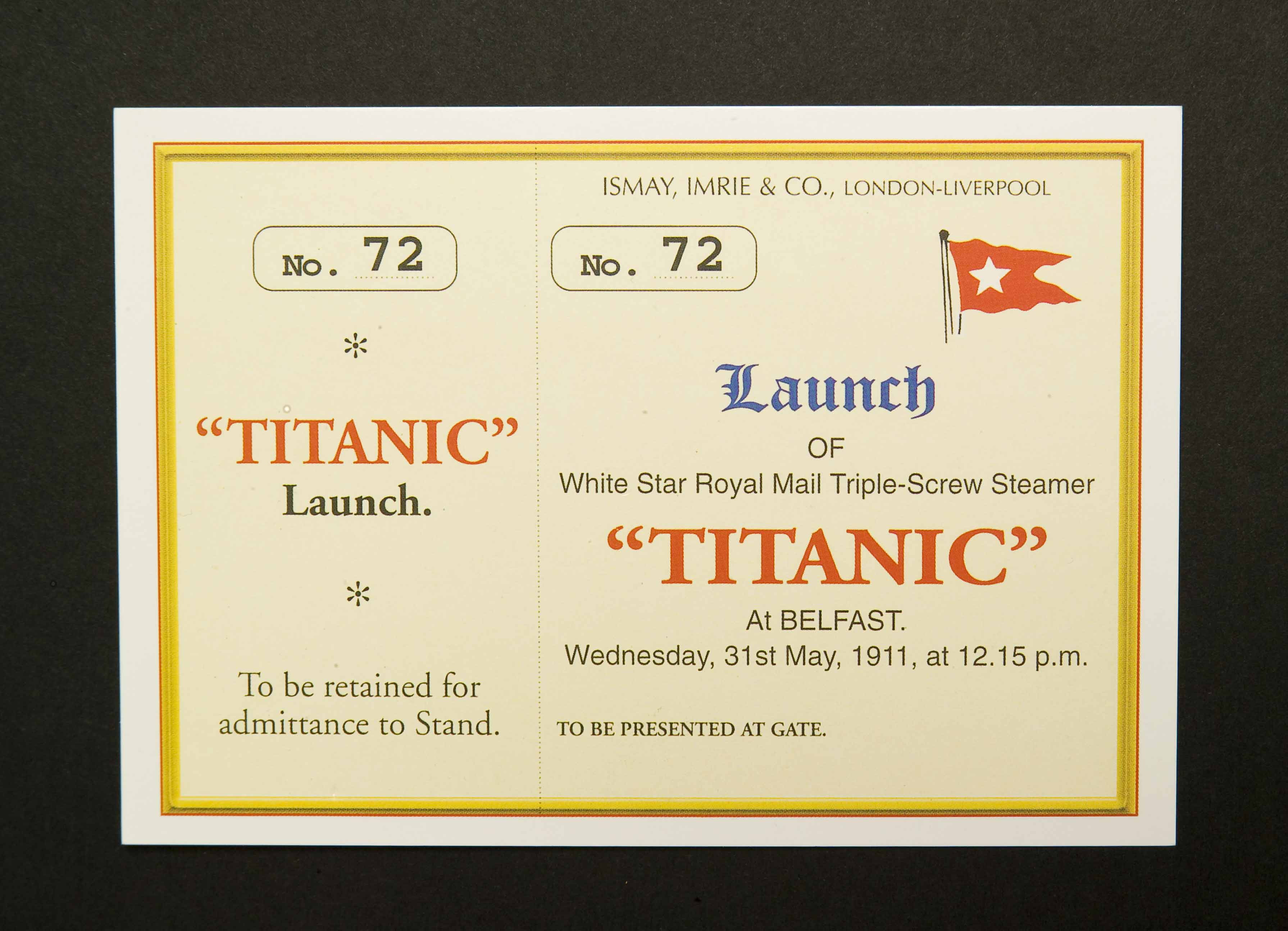 6 x RMS Titanic Launch Ticket Postcards